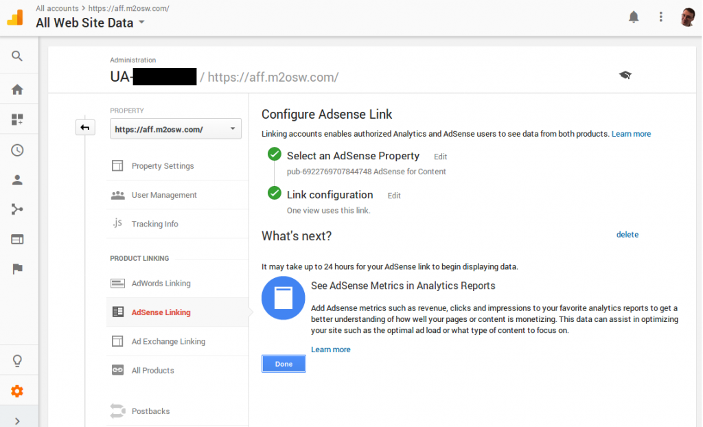 This screenshot shows you the result of linking your AdSense account with your Google Analytics account.