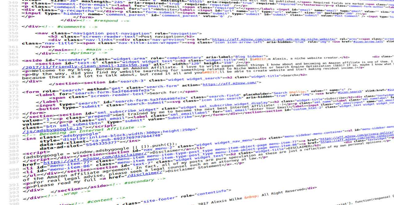 A screenshot of HTML code transformed to look like it was taken as a picture from my smartphone.