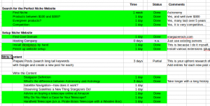 A screenshot of a spread sheet used to track my tasks on my Stargazer Rock website.