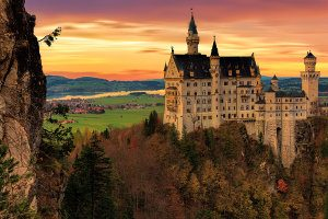 A picture of the fairly like Bavarian castle Neuschwanstein.